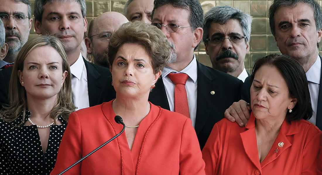 Dilma Rousseff speaks in front of crowd